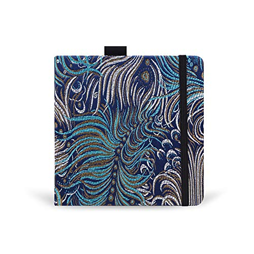 Square 5.1X5.1' 300gsm Watercolor Journal Hardbound 40pgs(20 Sheets Front Back 2 Textures)Travel Size for Calligrapher Colored Pencil Watercolor Sketch Handmade Cloth Cover Notebook Peafowl