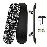 KOVEBBLE Skateboard professionale standard completo 31'x8 standard skateboard per bambini e adulti, principianti, ragazzi, ideale come regalo, in acero canadese (tuya)