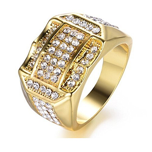 Janly Clearance Sale Womens Rings, Diamond Insert Male Men ring Business ring A birthday present Gift, Jewelry & Watches for Christmas Valentine's Day (Gold-10)