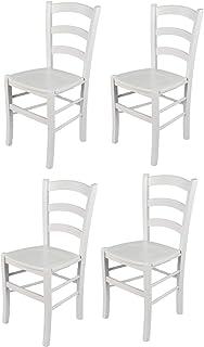 Tommychairs - Set 4 sillas Venezia para Cocina y Comedor, Estructura en Madera de Haya barnizada Color Blanco y Asiento en Madera