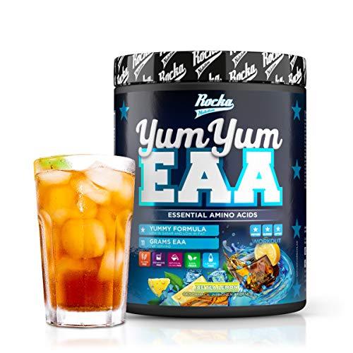 Rocka Nutrition EAA Pulver YUM YUM EAA   Hochwertige EAAs Aminosäuren Komplex Hochdosiert – Amino 450 g (Ice Tea Lemon)