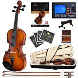 Cecilio CVN-300 Ebony Fitted Solid Wood Violin with Tuner and Lesson Book, Size