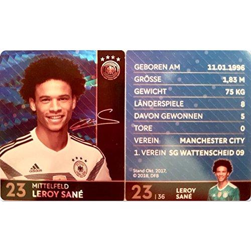 Rewe 2018 WM DFB Russland - Glitzer Einzelkarten Sammelkarten Komplettset (GLITZER KARTE NUMMER 23 - LEROY SANÉ)