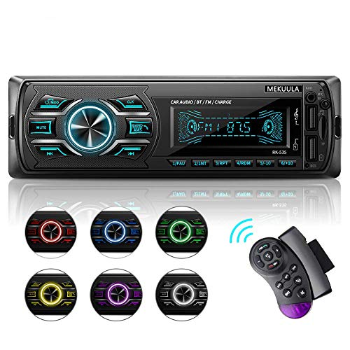 Autoradio Bluetooth Mains Libres, Radio Voiture avec 2 Ports USB,4x60W Radio Voiture Support FM/USB/MP3/WMA/TF/AUX +Télécommande, 7 Couleurs d'Eclairage,Soutien iOS, Android