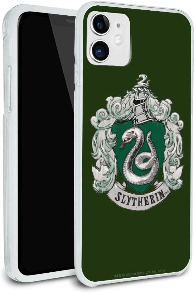 Harry Potter Slytherin Painted Crest Protective Slim Fit Hybrid Rubber Bumper Case Fits Apple iPhone 8, 8 Plus, X, 11, 11 Pro,11 Pro Max