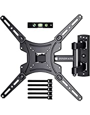 Full Motion TV Wall Mount Monitor Wall Bracket with Swivel Articulating Tilt Arms for 13-55 Inch LCD LED OLED Flat Curved Screens up to 66lbs Max VESA 400x400mm Fit Single Stud by ERGO-INNOVATE