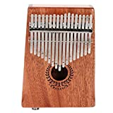 17 teclas Kalimba Thumb Piano, ecualizador de caoba portátil Piano de pulgar de madera Incorporado Pickup con Tune Hammer para niños Adultos principiantes profesionales (marrón mate)