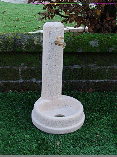 Bonfante fontaines Thessalonique cm39 x 39 x 69H martellinata Gris Blanc avec robinet 540ru2012 et bonde 540ru751