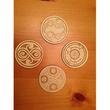 Doctor Who Gallifreyan Symbols Wood Drink Coasters Set of 4