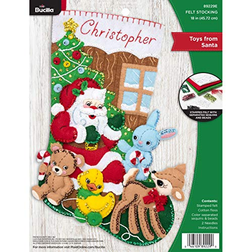 Bucilla Felt Applique Christmas Stocking Kit, 18', Toys from Santa