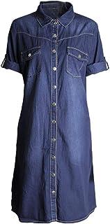 e57c81996b5 OHQ Robe à Manches Courtes en Jean pour Femme Bleu Clair Femmes Denim Loose  Large Boutons