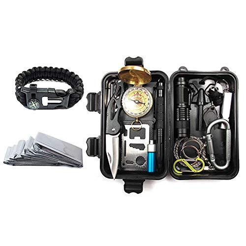 Kit de supervivencia de emergencia KIICN |Juego portátil de herramientas múltiples con caja de regalo para acampar Senderismo Caza Escalada Viajes Aventuras en el desierto