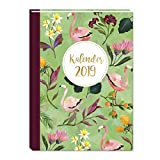 Taschenkalender 2019, Jahresplaner, Organzier, je Woche 2 Seiten, praktischer Terminkalender, Design 'Flamingo', 136 Seiten, 2 Seiten pro Woche, Termine, Notizen, Klebebindung
