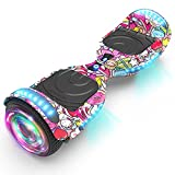 KAPAS Hoverboard (HS 2.2v), Chrome Color Hooverboard Bluetooth Speaker Huverboard with LED Light Flashing Wheels Self Balancing Electric Scooter by Certificated (Unicorn Baby)