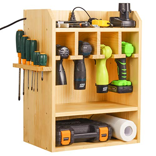 Drill Charging Station, Power Tool Organizer, Cordless Drill Holder, Wall Mounted Tool Garage Storage Organizer with Side Screwdriver Storage Rack (Need Assemble)