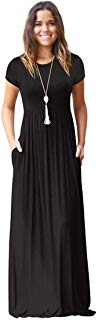 Meou & Moi Women's Short Sleeve Loose Fit Casual Maxi Dress with Pockets (XXL, Black)