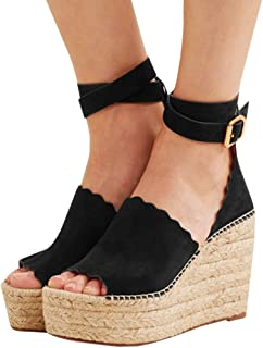 Womens Espadrille Platform Wedge Sandals Open Toe Buckle Ankle Strap High Heel Summer Shoes