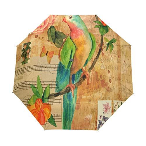 XiangHeFu Paraplu Muziek Letter Vogel Bloem Art Patroon Auto Open Sluiten 3 Vouwen Lichtgewicht Anti-UV