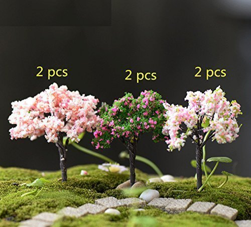 Treasure-House Fairy Garden Trees, Miniature Garden Ornaments, Set of 6