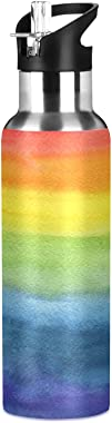 FORMEETY LGBT Pride Rainbow Oil Painting Sports Water Bottle 20oz Large Portable Thermos Cup Stainless Steel 304 for Home Off