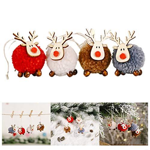 Sahgsa Weihnachten Anhänger Weihnachtsanhänger Elch Deko hänge Weihnachtsbaum Tannenschmuck Christbaumschmuck Filz Holz Weihnachtsdeko Verzierung