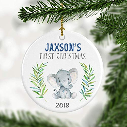 Yilooom Christmas Tree Decor Gift Idea, Baby Boy Ornament, Personalized Babys First Christmas Ornament, Baby Elephant Ornament, New Parent Gift