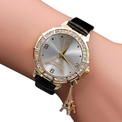 Women Elegant Quartz Watches Fashion Eiffel Tower Rhinestone Wrist Watches with Pendant (Black)