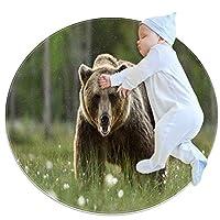 エリアラグ軽量 クマの散歩 フロアマットソフトカーペット直径27.6インチホームリビングダイニングルームベッドルーム