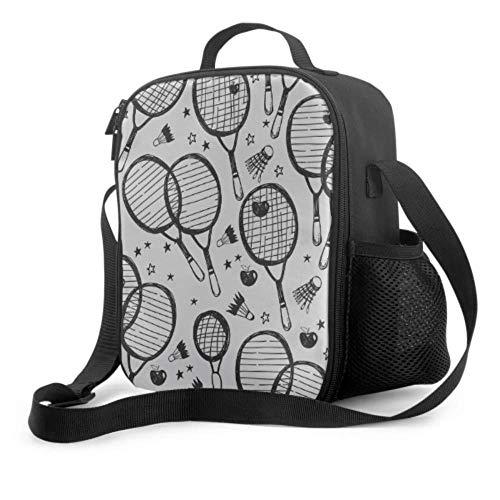 Mittagessen Totes für Frauen Badmintonschläger und Tennisschläger Herren Lunch Einkaufstasche mit Griff Schultergurt Wiederverwendbare Kühltasche für Männer Frauen Arbeit/Schule/Picknick
