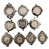 ChangJin 10PCS Mixed Lot of Silver Tone Quartz Watch face Charm Links for Jewelry Making (10)