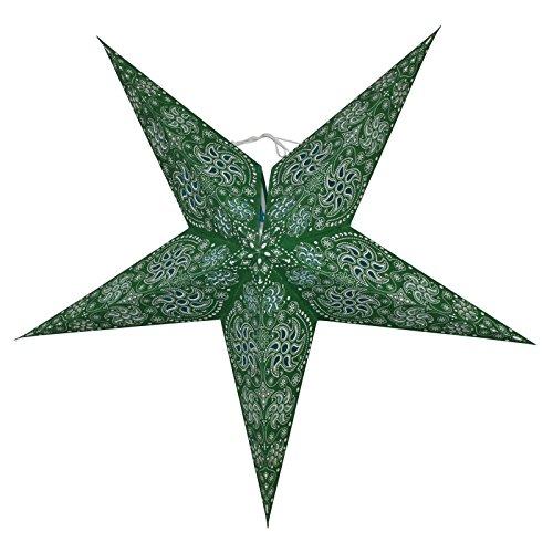 Freak Scene® Papierlampe Stern, Modell: 5zackig grün Gemustert #2 60 cm