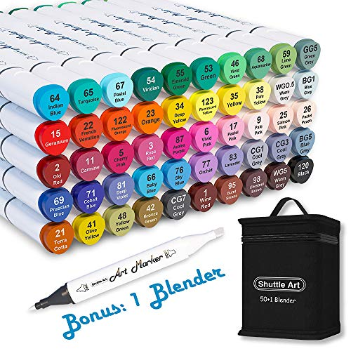 Shuttle Art 51 Colors Dual Tip Alcohol Based Art Markers, 50 Colors plus 1 Blender Permanent Marker Pens Highlighters with Case Perfect for Illustration Adult Coloring Sketching and Card Making