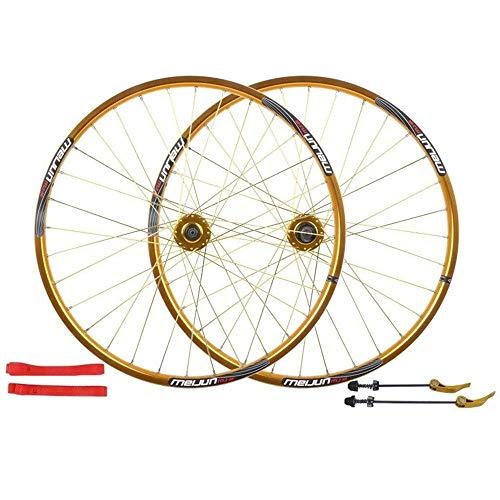 CHUDAN MTB Fahrrad Laufradsatz 26 Zoll, Doppelwandig Aluminiumlegierung Fahrrad Laufräder Scheibenbremse Mountainbike Radsatz Schnellspanner Amerikanisches Ventil 7/8/9/10 Geschwindigkeit,Gold