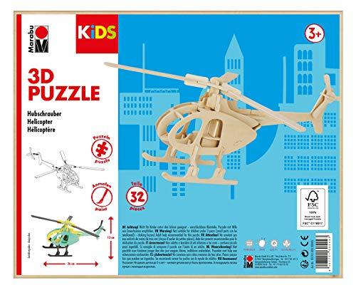 Marabu 317000000003 - KiDS 3D Holzpuzzle Hubschrauber, mit 32 Puzzleteilen aus FSC-zertifiziertem Holz, ca. 26 x 13 cm groß, einfache Stecktechnik, zum individuellen Bemalen und Gestalten