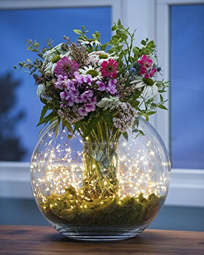 Topfashion Lichterkette für Blumenvasen, 20 LEDs,2,1 m Kupferdraht, Warmweiß, wasserfest, 2 Stück