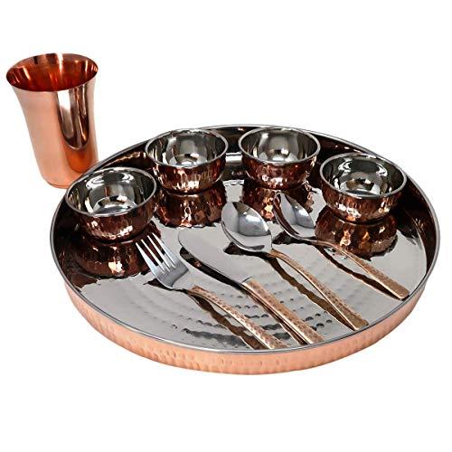 Vajilla de cobre étnico indio Thali Set de vajilla tradicional con platos de cena Katoris vasos y cubiertos servicio para 4 (juego de 4)