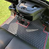 Club Car Full Coverage Golf Cart Floor Liner Mat W/Color Options- Fits Club Car Models Precedent (2004-2021)/Onward & Tempo (2017-2021) - Black with Red Trim