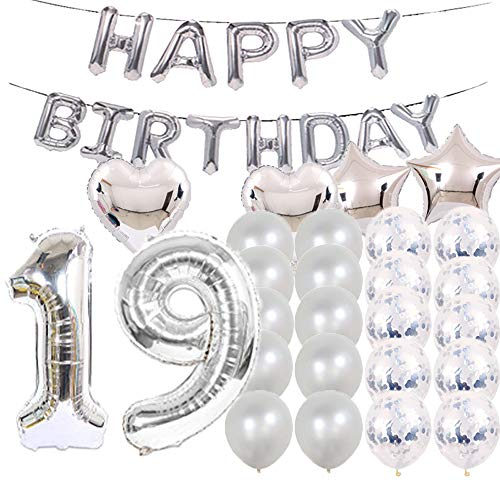 Sweet 19th Birthday Decorations Party Supplies,Silver Number 19 Balloons,19th Foil Mylar Balloons Latex Balloon Decoration,Great 19th Birthday Gifts for Girls,Women,Men,Photo Props