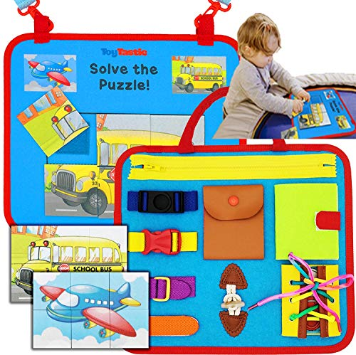 Toddler Busy Board Montessori Sensory toys for toddlers 1-3 1-4 year old boy girl travel activity learning boards motor skill baby buckle toy, snaps lace school bus airplane puzzles gifts by ToyTastic