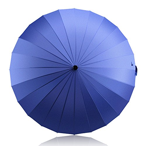 HISEASUN 52inch Paraguas de Golf a Prueba de Viento con 24 Costillas para Mujeres y Hombres Paraguas Grande Clásico Antiviento, Mango de Cuero Recto, Fácil de Llevar(Azul)