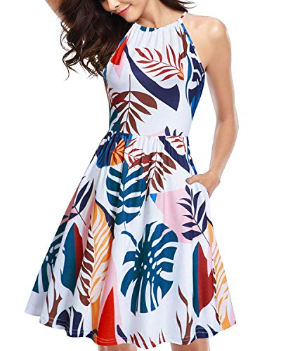 KILIG Halter Neck Floral Sundress for Women Casual Tropical Summer Dresses with Pockets (A5-Floral,Small)