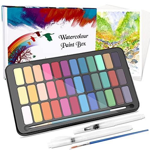 WOSTOO Set de Pintura de Acuarelas-50 Pzas Caja de Acuarelas Portátil Set de Pigmento Sólida-36 Colores,2 Cepillos de Depósito de Agua, 2 Pincel de Nylon y 10 Papel, Caja Acuarelas Profesionales