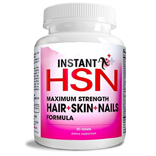 Instant HSN All-Natural Hair, Skin, and Nails Strengthening Formula Maximum Strength Purest Biotin Hair Growth Supplement, Complete Blend of Daily Hair, Skin, and Nails Supplement.