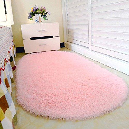 Pingenaneer Tapis de Chambre Super Doux Cheveux Tapis à Long Poil Antidérapant Forme Ovale Tapis de Maison Salle de Bain 80 x 160cm - Rose