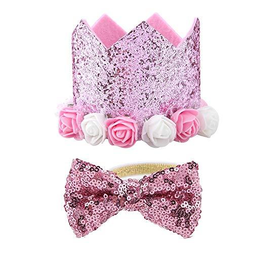 TOPINCN Pet Hat Papillon Set alla Moda Retrattile Fiore Shiny Crown Cani Gatti Pet Supplies Festa di Compleanno di Natale Festival Daily(Rosa)