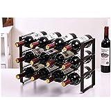 CapsLock 3 Tier Stackable Wine Rack Free-Standing Wine Rack Wine Storage Shelf Countertop Cabinet Wine Holder Storage Stand - Hold 12 Bottles for Home Decor Bar Wine Cellar Basement Cabinet Pantry