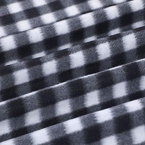 Buffalo Plaid Fabrics 1 Yard Polar Fleece Plaid Fabric Christmas Check Print Fabric Squares Buffalo Checks Pattern Craft Fabric for Sewing DIY Party Festival Decorations (White and Black)