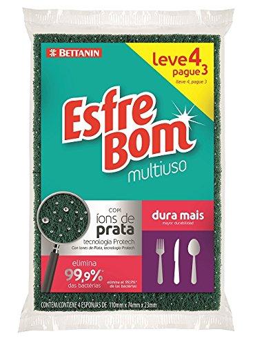 Esponja Abrasiva Multiuso, EsfreBom, Verde/Amarelo