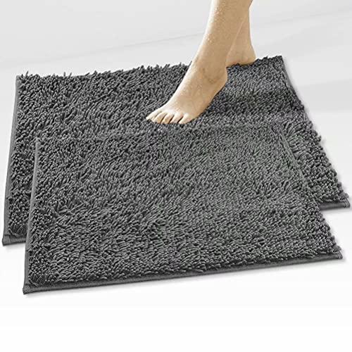 Alfombrilla de baño antideslizante de microfibra, felpilla, lavable, supersuave, absorbente, resistente (gris, 40 x 60 cm + 50 x 80 cm)