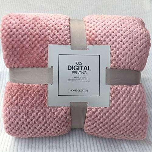 Plaid Blanket Soft Warm Thick Breathable Bedding Sofa Car Office Blanket (Pink/70 * 100cm)